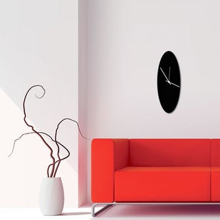 Adam Schwoeppe 'Blackout Ellipse Clock' Minimalist Modern Black Wall Decor