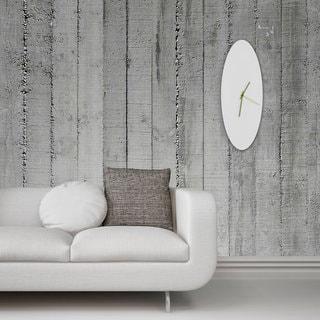 Adam Schwoeppe 'Whiteout Ellipse Clock Large' Minimalist Modern White Wall Decor