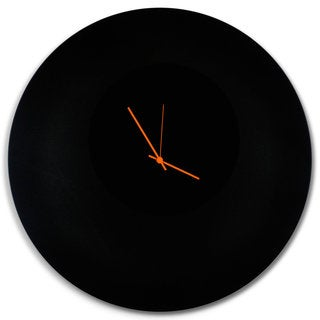 Adam Schwoeppe 'Blackout Circle Clock Large' Minimalist Modern Black Wall Decor