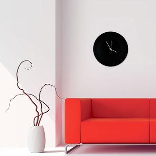 Adam Schwoeppe 'Blackout Circle Clock' Minimalist Modern Black Wall Decor