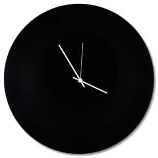 Adam Schwoeppe 'Blackout Circle Clock' Minimalist Modern Black Wall Decor https://ak1.ostkcdn.com/images/products/11901537/P18795226.jpg?impolicy=medium