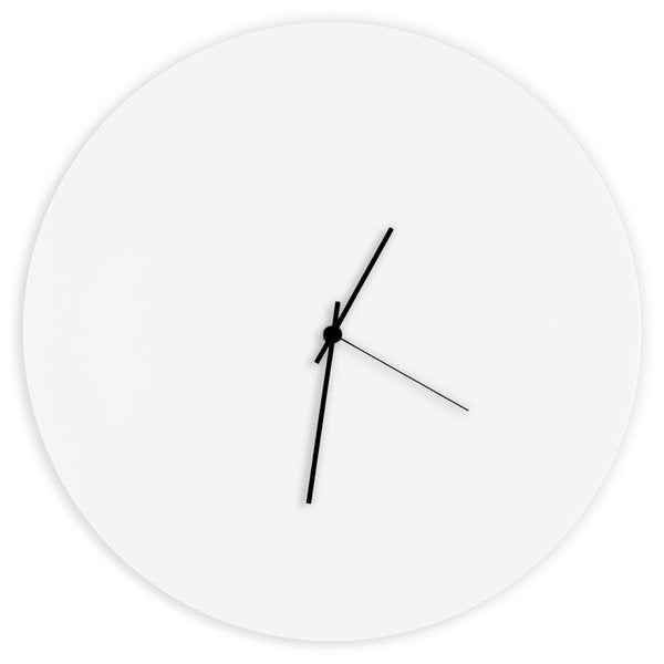 Adam Schwoeppe 'Whiteout Circle Clock' Minimalist Modern White Wall Decor
