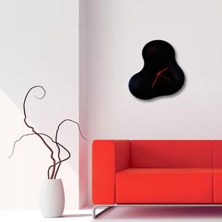 Adam Schwoeppe 'Blackout Blob Clock' Abstract Black Metal Wall Decor