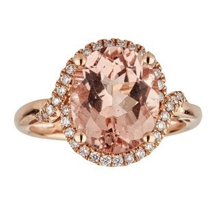 Anika and August 14-karat Rose Goldtone Oval-cut Mozambique Morganite and Diamond Ring