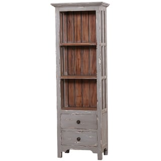 Bramble Co. Aries Grey Mist Mahogany 2-drawer, 3-tier Bookcase