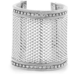 Adoriana Wide Silver Tone Mesh Massive 3-inch Cuff Bracelet with A Row Of Fiery Rhinestone Crystals