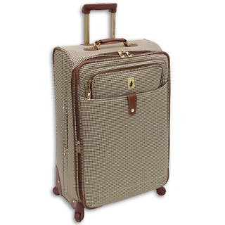 London Fog Chelsea Collection Houndstooth Expandable Spinner Upright 29-inch Full-size Suitcase|https://ak1.ostkcdn.com/images/products/11901570/P18795250.jpg?impolicy=medium