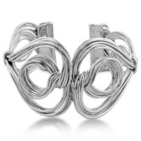 Adoriana Twisted Solid Wire Double Heart And Circle 1 1/2-inch Wide Cuff Bracelet