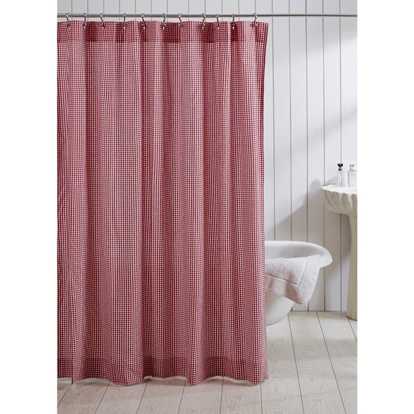 Gingham Curtains Red And White Gingham Curtains Kitchen: Shop Red Gingham Cotton Shower Curtain