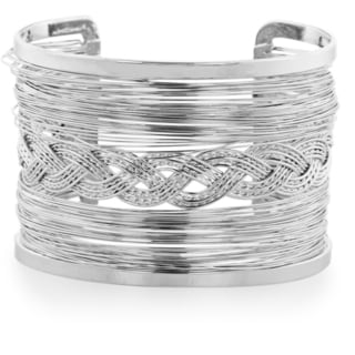 Adoriana Chunky Wire Braided Weave Silver Tone 2-inch Wide Cuff Bracelet