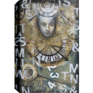Hobbitholeco. Christina Lovisa, Face and Time, Abstract, Gel Brush Finish Canvas Wall Art Decor, Gallery Wrapped 34X46
