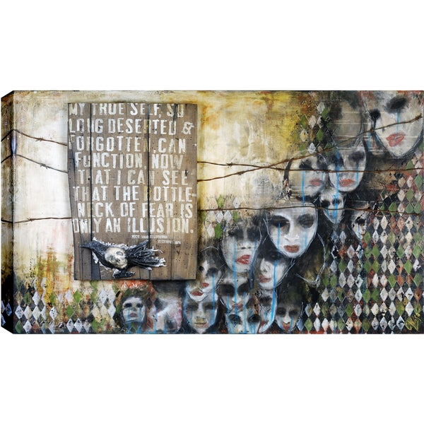 Hobbitholeco. Christina Lovisa, The bottle neck of fear, Abstract, Gel Brush Finish Canvas Wall Art Decor, Gallery Wrapped