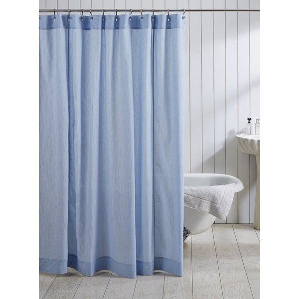 Cotton Seersucker Shower Curtain