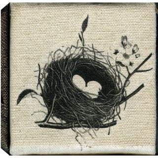 Hobbitholeco., Christina Lovisa, Bird Nest, Abstract, Hand Applied Gel Brush Finish Canvas