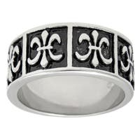 Stainless Steel Ring with Fleur-de-Lis Design and Black Ionic Plating