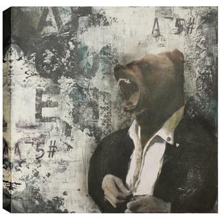 Hobbitholeco., Christina Lovisa, Bear Head, Abstract, Hand Applied Gel Brush Finish Canvas