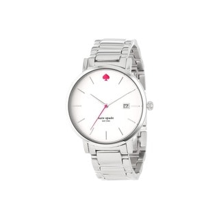 Kate Spade Women's White Analog Dial Silver Stainless Steel Bracelet Watch