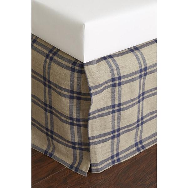 Neil Blue Linen 18-inch Drop Bed Skirt