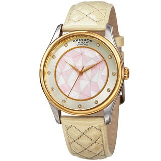 Akribos XXIV Women's Quartz Diamond Cream Leather Strap Watch