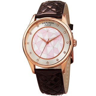 Akribos XXIV Women's Quartz Diamond Brown Leather Strap Watch