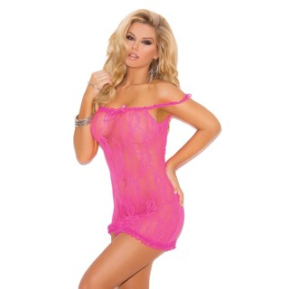 Elegant Moments women's nylon stretch lace chemise with satin bow detail