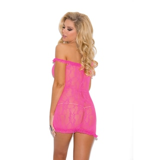 Women's Nylon Stretch Lace Chemise With Satin Bow Detail