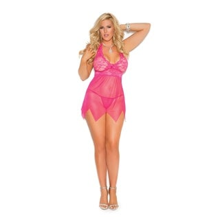 Elegant Moments Plus Size lace and mesh babydoll and g-string