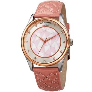 Akribos XXIV Women's Quartz Diamond Mauve Leather Strap Watch