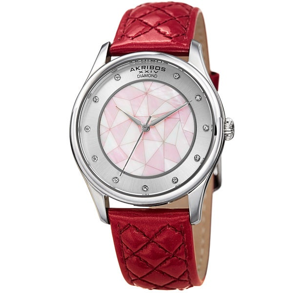 Akribos XXIV Women's Quartz Diamond Fuchsia Leather Strap Watch