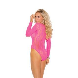 Elegant Moments Women's Nylon Stretch Lace Deep-V Long-sleeve Teddy