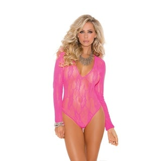 Elegant Moments Women's Nylon Stretch Lace Deep-V Long-sleeve Teddy