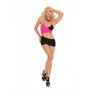 Women's Pink and Black Colorblock Mini Dress with Cut-out Front (4 options available)