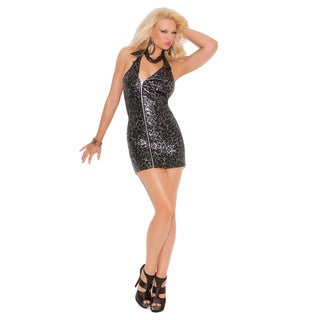 Women's Black Polyester Moto-style Halter Dress With Exposed Side Zipper Detail
