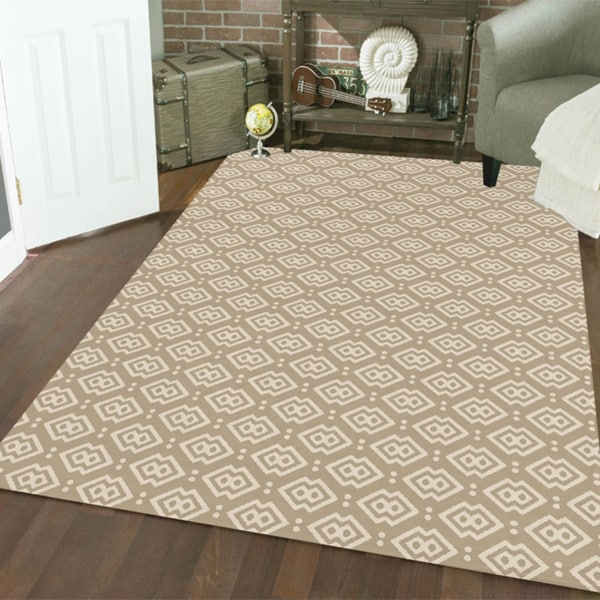"Admire Home Living Bronte Disc Light Beige Area Rug (7'10"" x 10'6"")"
