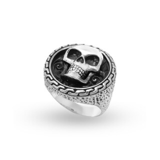 Handcrafted Sterling Silver Bali Men's Skull Crest Ring (Indonesia)