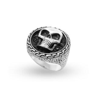 Handmade Sterling Silver Bali Men's Skull Crest Ring (Indonesia)