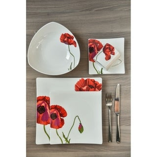 Red Vanilla Summer Sun White Bone China Dinner Set (Case of 16)