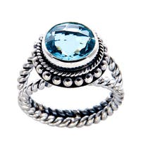 Handmade Sterling Silver Round Blue Topaz Rope Edge Detail Bali Ring (Indonesia) - LIGHT BLUE
