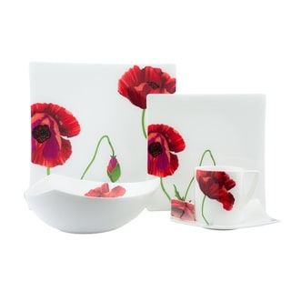 Red Vanilla Summer Sun White Bone China Dinner Set (Case of 20)