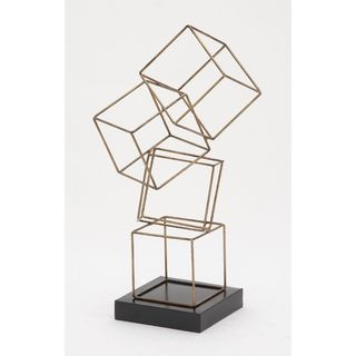 Contemporary Gold Metal Geometrical Table Sculpture