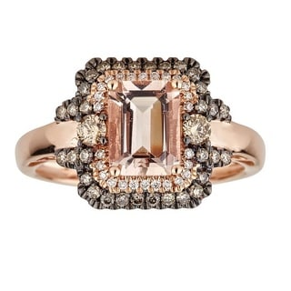 Anika and August 14K Rose Gold Emerald-cut Mozambique Morganite and Diamond Ring
