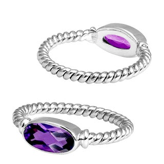 Handcrafted Sterling Silver Oval Amethyst Bali Stack Ring ( Indonesia)