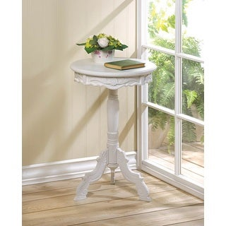 Antigue-White Antique-style Wooden Round Mini Accent Table