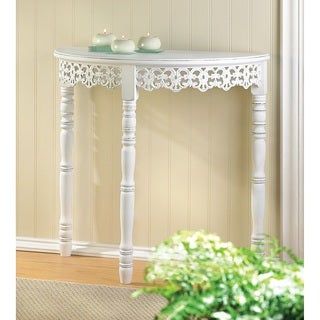 Lacy Antique White Finish Wood Half-Moon End Table