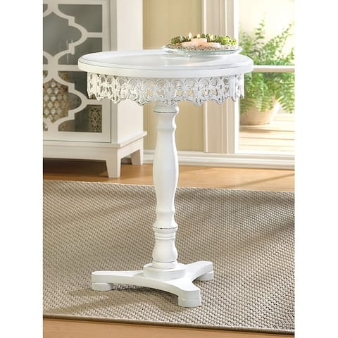 Lacy Antique White Finish Wooden Round Side Table