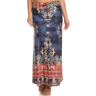 MOA Collection Women's Polyester and Spandex Plus Size Paisley Dust Maxi Skirt
