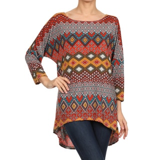 MOA Collection Women's Brown Bohemian-pattern Hi-low Long-sleeve Tunic Top