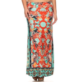 MOA Collection Women's Multi-color Polyester, Spandex Plus Floral Maxi Skirt