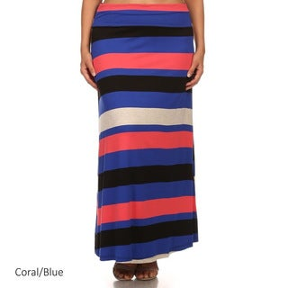 MOA Collection Women's Multicolored Rayon Plus-size Striped Maxi Skirt