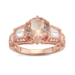 Gioelli Rose Gold over Silver 3-stone Round and Emerald-cut Cubic Zirconia Engagement Ring